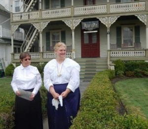 That's me on the right, portraying Lydia Bull, one of the 19th century owners of the Aurora Hotel in Ocean Grove, NJ. Part of the Women's History Tour. Costume by Recollections.